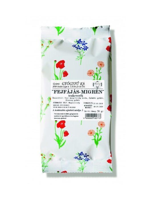Gyógyfű FEJFÁJÁS-MIGRÉN szálas teakeverék 50 g